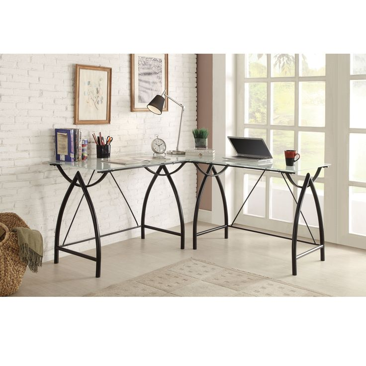Office Star Products L-shaped Frosted Glass/ Corner Desk