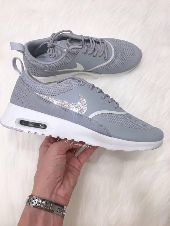 new styles fe9c9 35391 SIZE 7.5   11 Nike Air Max Thea Premium w  SWAROVSKI® Crystals - Matte  Silver Summit White   shoes   Pinterest   Air max thea premium, Air max thea  and Air ...