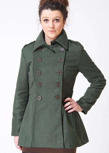 Sugarhill Boutique Pip Coat in Military Green