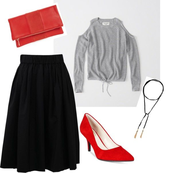 black midi skirt outfit - gray cold shoulder sweater - red pumps - red foldover clutch - black leather chocker