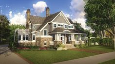 Home Plan HOMEPW25845 is a gorgeous 4038 sq ft, 2 story, 4 bedroom, 3 bathroom plan influenced by + Shingle style architecture.