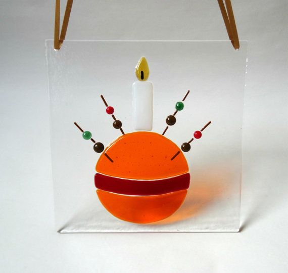 Fused glass christingle panel, stained glass art, window decoration, Christmas gift for her, home decor, stocking filler, secret santa