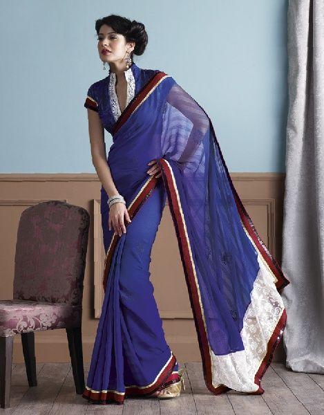 Blue Saree in Net  Georgette