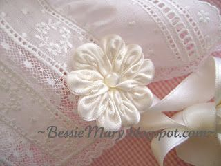 Silk ribbon rosettes tutorial ---- BessieMary: Bonnet with Frills Upon It, IV