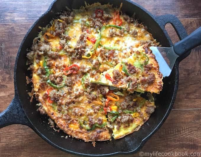 This low carb breakfast pizza would be great for breakfast, lunch or dinner…