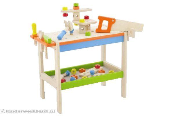 Woodtoys Gekleurde werkbank | Kinderwerkbank.nl