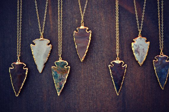 ARROWHEAD NECKLACES /// Electroformed Gemstone by luxdivine. So obsessed with these.