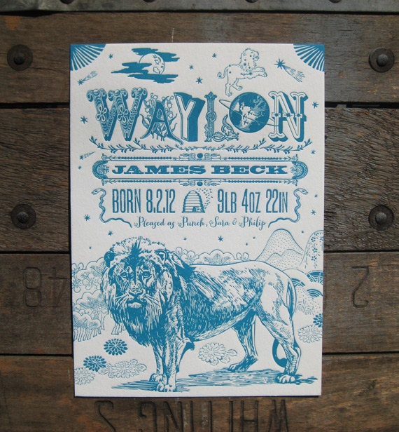 Custom Design Letterpress Leo Lion Birth Announcement. $5.00, via Etsy.