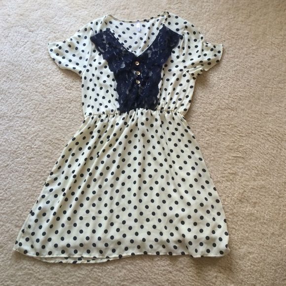 REDUCED & $.99 shipping Pink Blush maternity dress Super cute maternity dress by Pink Blush• size L but fits more like a Medium.  Navy blue polka dots • lace panel • gold contrast buttons Pink Blush Dresses