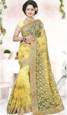 Designer Embroidery Yellow Color Net Ethnic Wear Sarees   FH527280291 >>Follow Us @heenastyle <<< ------------------------------------ #traditionalwear #ethnicwear #ethniccollection #onlinesarees #photoshoot #model #designersarees #sari #designersaris #attractive #beautiful #classy #usa #newyork #newjersey #australia #italy #unitedkingdom #golden #womenscloth #womenfashion #weddingseason #weddingwear #bridalwear #heenastylesaree #sarees #blouses #partywear, #designerblouses…