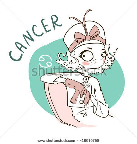 Zodiac signs Cancer. Vector illustration of the girl.