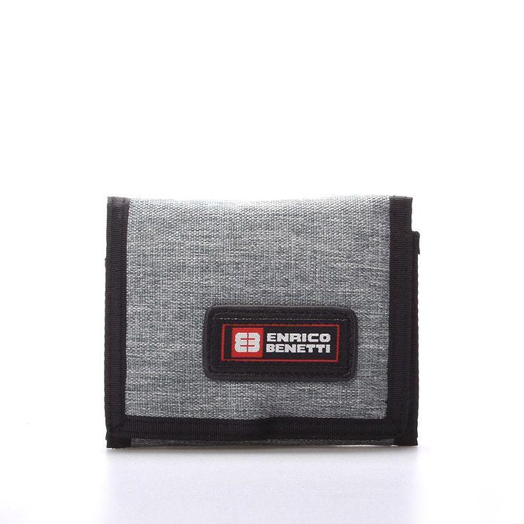 Praktická látková rozkládací peněženka Enrico Benetti v šedé barvě. Uvnitř přihrádka na zip na drobné, na karty, doklady, bankovky. Uzavírání je na suchý zip. Materiál pevný textil.