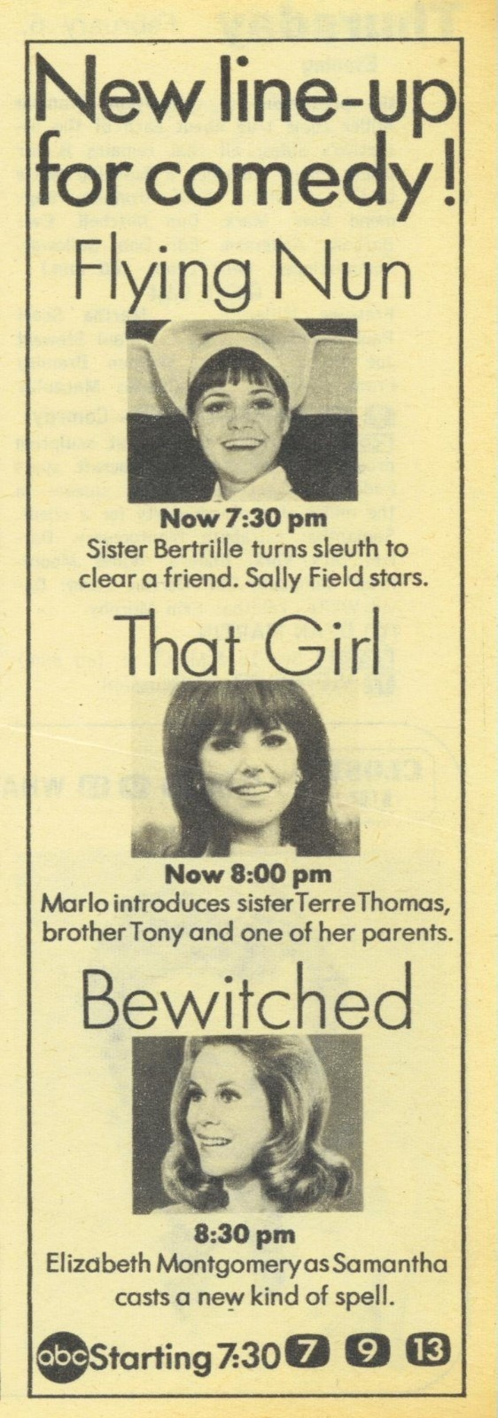 1969 TV Guide Ad Bewitched Flying Nun That Girl ABC TV Thursday Night Promo Ad - I watched them as reruns in the early '70s
