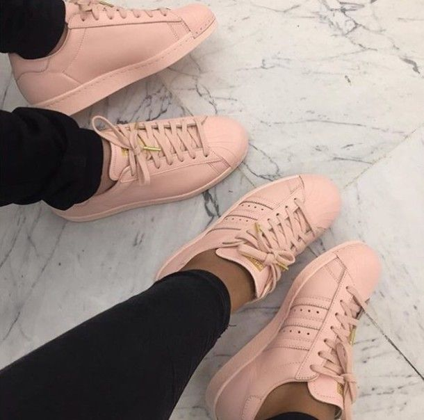 Shoes: pink, adidas, adidas superstars, pastel, trainers, cute, girly, baby pink - Wheretoget