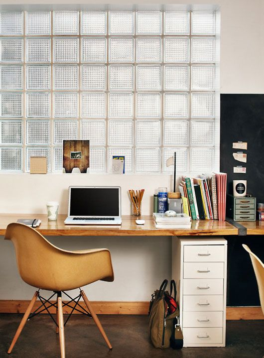 divide a small space with glass bricks: Interior, Ideas, Home Office, Work Spaces, Workspaces, Desk, Design