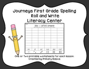 Students will roll one dice and write the correct spelling word on these printable worksheet for Journeys First Grade Reading Curriculum. One or two worksheets for each lesson, for all 30 lessons. No prep. Just print and add dice and you have a quick and easy weekly literacy center.More Journey First Grade Literacy CentersMore Journeys First Grade Literacy CentersJourneys First Grade Words to Know Roll and WriteJourneys First Grade Spelling Trace and StampJourneys First Grade Trace and Stamp…