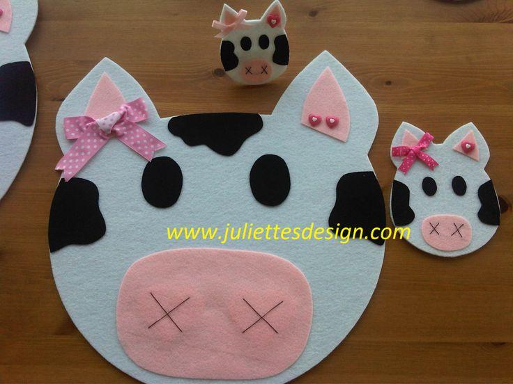 İnek Figürlü Amerikan servis takımları. Cow table mat & coaster  www.juliettesdesign.com