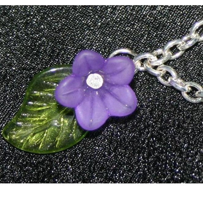 Blooming Purple Flower and Chain Bracelet by DornanDesigns