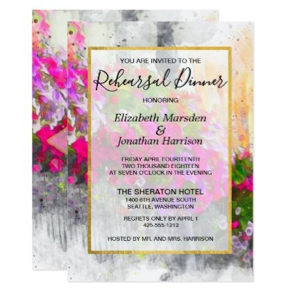 Elegant Pink Florals Watercolor Rehearsal Dinner Card - script gifts template templates diy customize personalize special