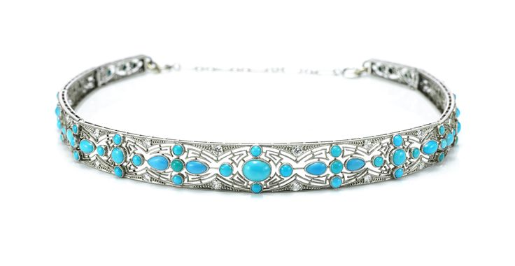 A Turquoise and Diamond Bandeau Tiara, circa 1915. Available at FD Gallery. www.fd-inspired.com