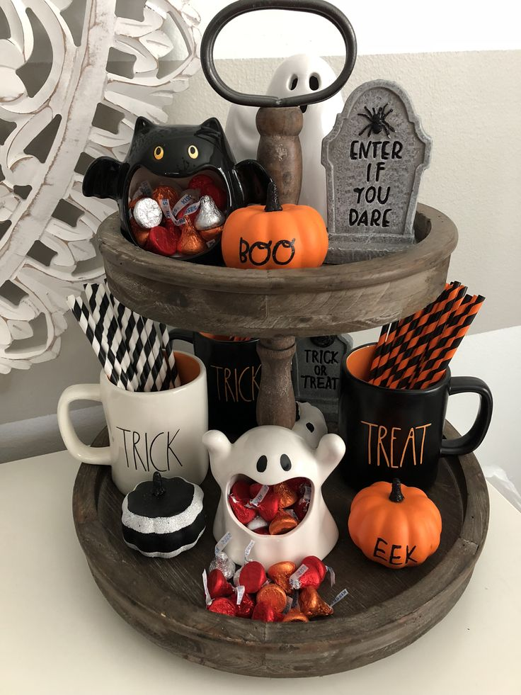 I love my adorable Halloween 🎃 👻 Rae Dunn inspired tiered tray. Just the t…