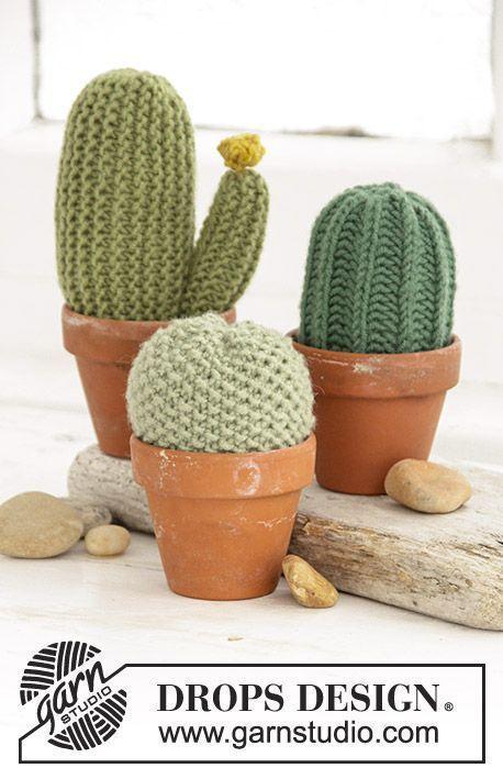 Drops Extra 0 1387 Gebreide Cactussen Met Gerstekorrel