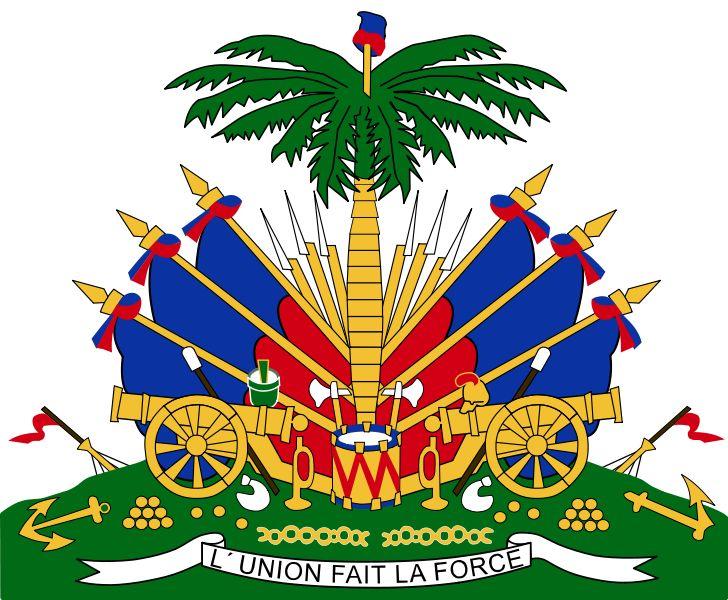 """Haiti's coat of arms. """"L'union fait la force"""" - Unity makes strength."""