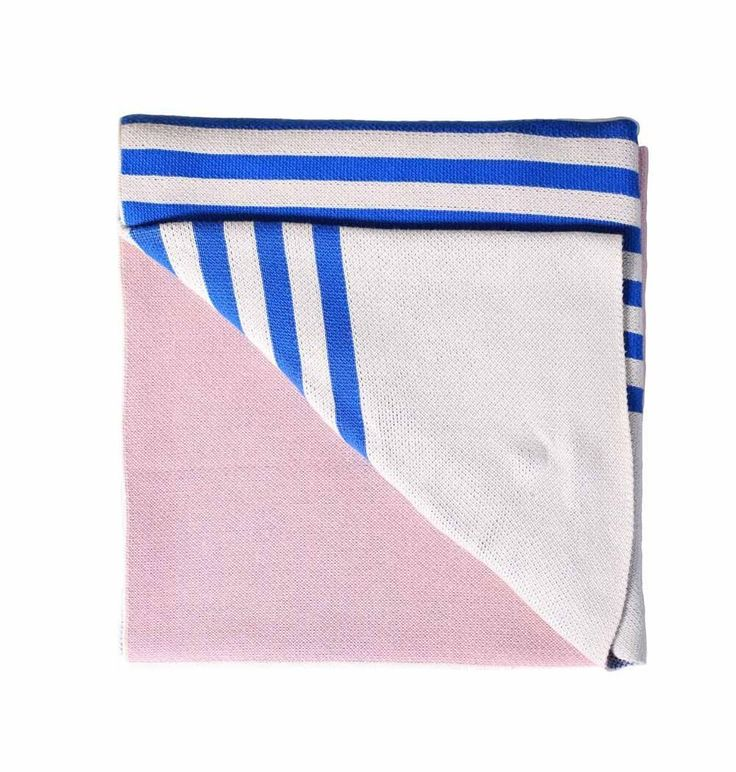 Super soft blue and pink throw / cosy living room blanket / striped interior trend / dusty pink throw blanket / nursery decor homewares
