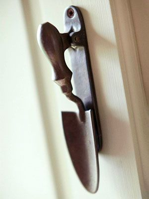 this would be the. perfect door handle for a garden shed... If I had one, I would try to re-use old tools like this (or a rake as something to hang things from) as much as possible.