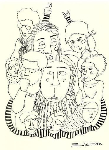 """""""People are strange"""" Dibujo con rapidografo Autoria: Emilia Escalante Ariza"""
