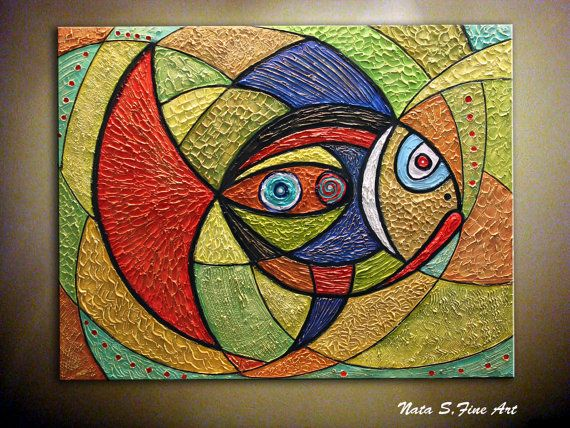 Original Abstract Fish Painting.Heavy Textured by NataSgallery