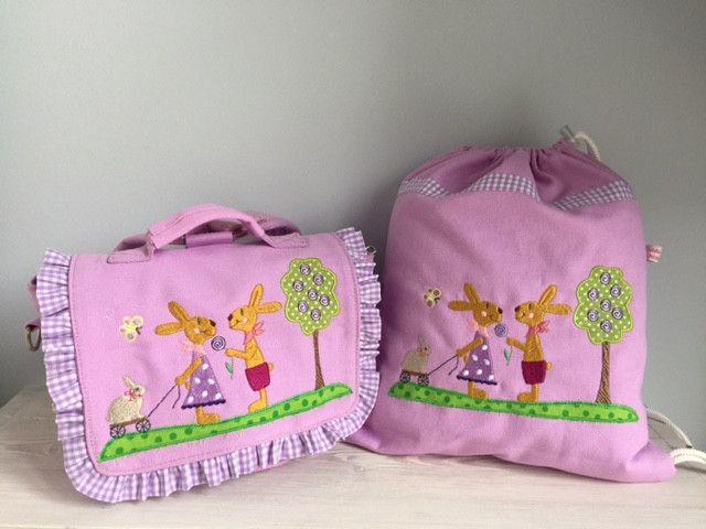 Kindergartentaschen - Zauberhaftes Set Tasche u. Turnbeutel-Hasenliebe!  - ein Designerstück von Goldfisch17 bei DaWanda