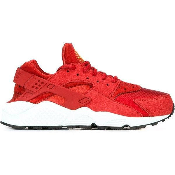 Nike Air Huarache Sneakers ($119) ❤ liked on Polyvore featuring shoes, sneakers, huaraches, nikes, red, red trainer, lace up shoes, red shoes, round cap and nike shoes