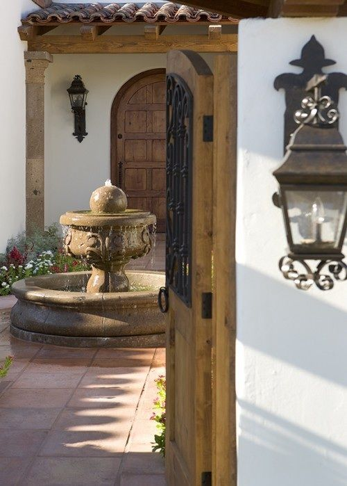 Fountains.: Spanish Design, Carson Poetzl, Courtyards Fountains, Spanish Styles, Spanish Revival, Doors And Gates, Spanish Courtyards, Wooden Doors, Gardens Fountains