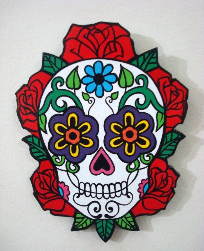 CALAVERAS MEXICANAS HECHAS EN MADERA PARA COLGARbr / PINTADAS A MANO