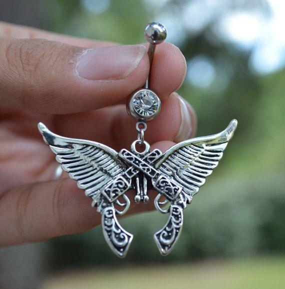 Crossed Guns & Angel Wings Belly Ring - Country girl cowgirl western twin gun navel ring