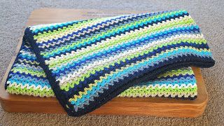Zillie's NZ: Gallery of Items I have Made Blues Crochet Stripe Baby Blanket