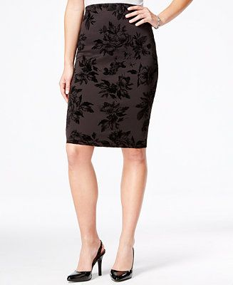 BCX Juniors' Flocked-Print Pencil Skirt - Juniors Skirts - Macy's