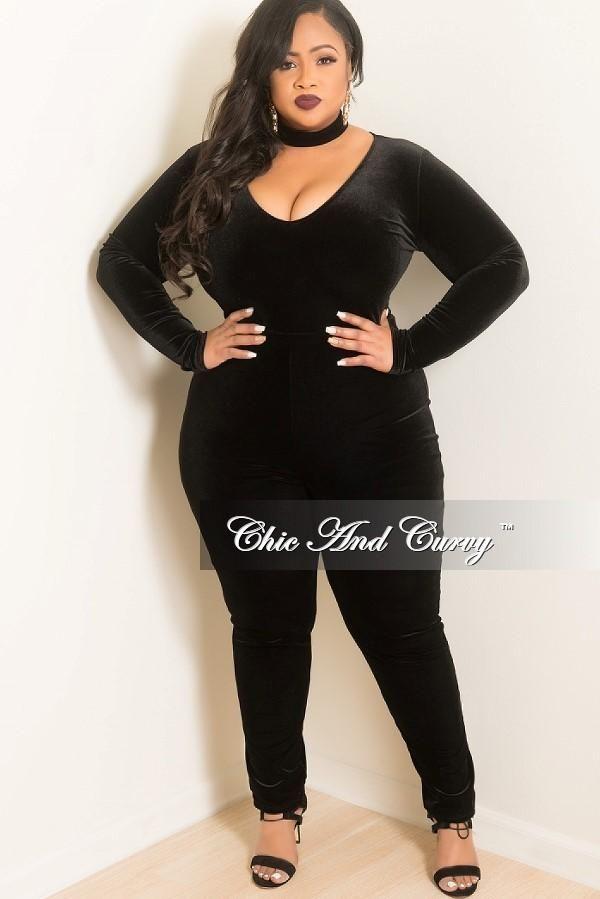 6bcf285b7d93 Final Sale Plus Size Velour Bodysuit/Jumpsuit in Black in 2019 ...