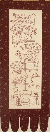 """Christmas Angels Stitchery Kit: This hand embroidery projects features three adorable angels in a Christmas tree with the phrase """"Bells are ringing and angels singing"""".  Kit includes pattern and pre-printed muslin.  Please note: embroidery floss and piecing fabrics are not included. 8"""" x 22""""."""