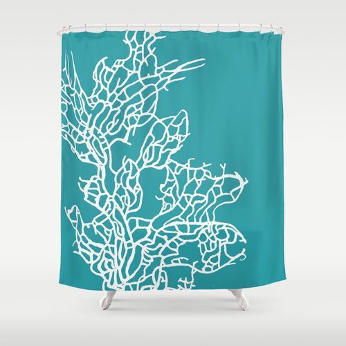Coral reef 8 shower curtain by monika strigel society6 for Coral reef bathroom decor