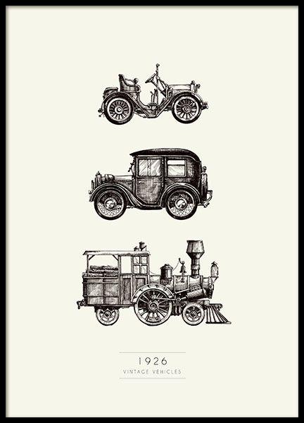 Een erg mooie vintage poster met oude auto's/voertuigen, De poster heeft mooie sepia tinten die mooi zijn in een zwarte lijst. Past goed in de kinderkamer. www.desenio.nl