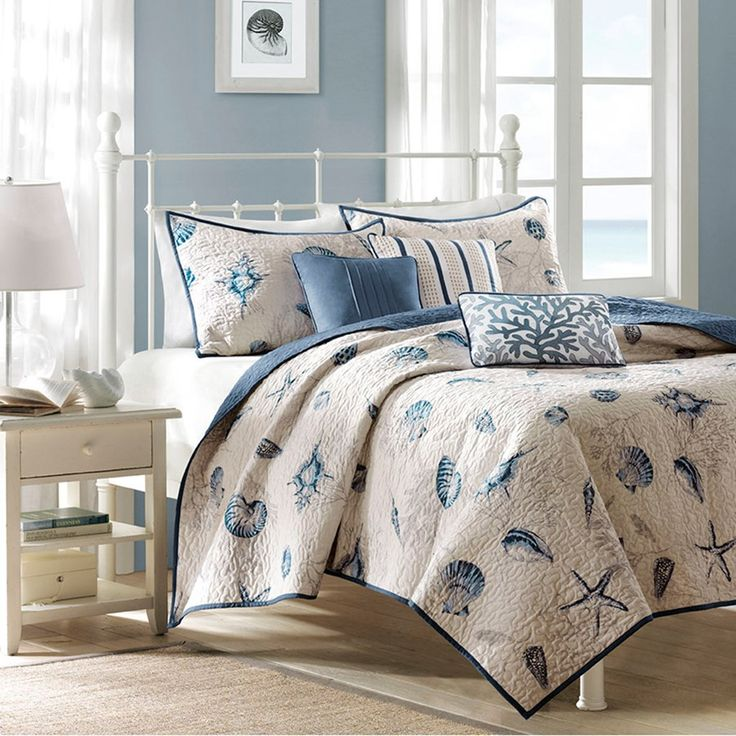 bayside coverlet bedding collection seashell design dark blue and beige
