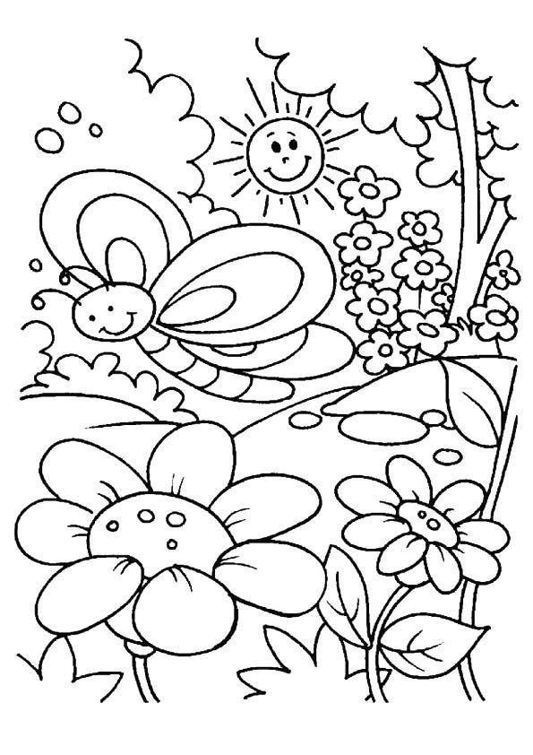 Wiosenne Kolorowanki Do Wydruku Dla Dzieci 3 Ptaki Kwiaty Pani