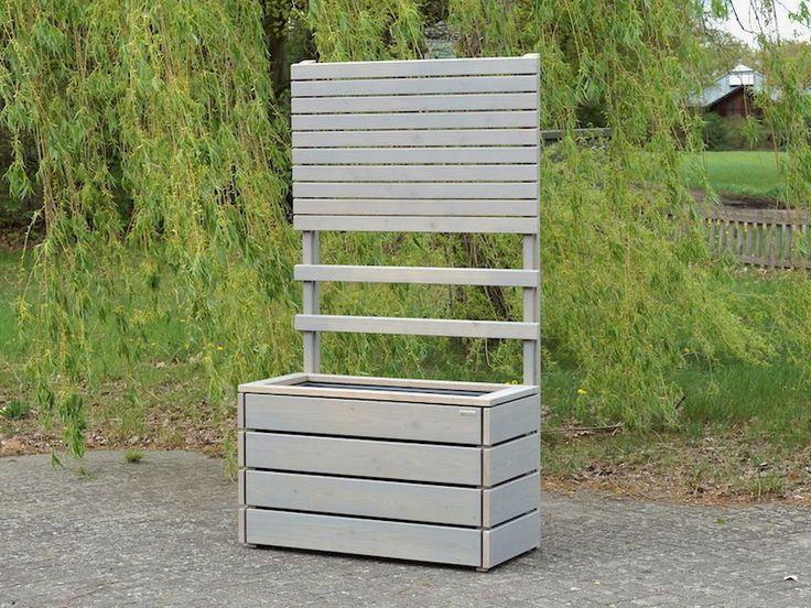 Pflanzkasten Holz L mit Sichtschutz / Rankgitter / Spalier