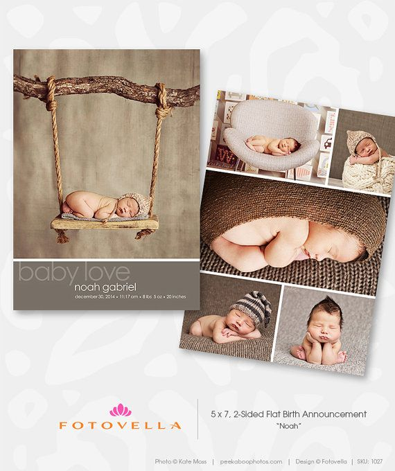 Photoshop Templates for Photographers — Baby Boy Birth Announcement Card  Modern Birth Announcement Template by FOTOVELLA, featuring photography by Kate Moss, peekaboophotos.com