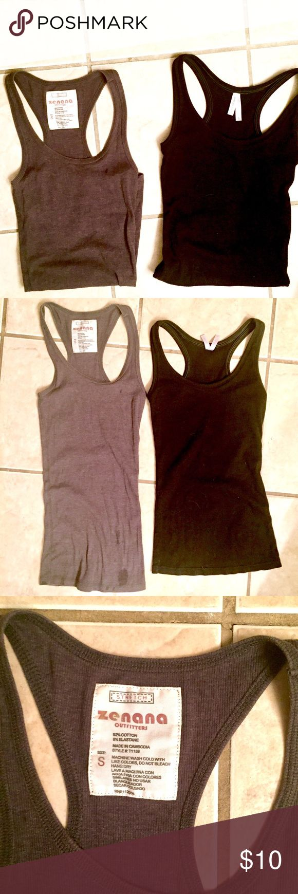 SPORTS RAZORBACK TANK TOP BUNDLE Two essential sports razorback tank tops in Size Small. Dark gray is cotton/elastase by Zenana Outfitters & black is cotton/polyester by Color Story. Zenana Outfitters Tops Tank Tops