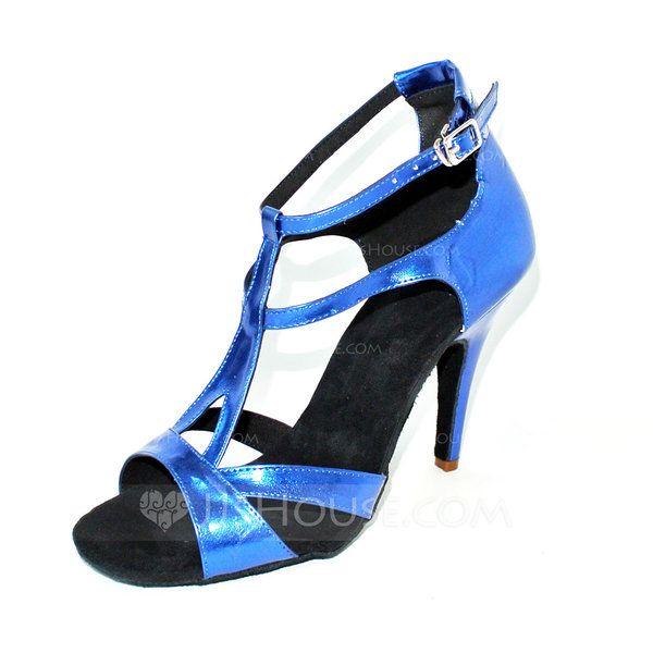 Vrouwen Patent Leather Hakken Sandalen Latijn met T-Riempjes Dansschoenen (053024879)