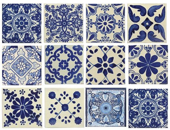 Blue & white, mixed styles, 4x4 Mexican/Spanish Decorative Ceramic Talavera Tiles. These are beautiful & truly the perfect decorative accent.