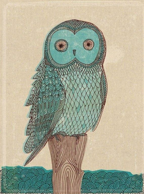 owl in blue monotone: Art Lessons, Owl Prints, Owl Art, Art Prints, Paula Mills, Blue Owl, Hands Drawn, Art Projects, Great Grey Owl